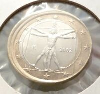 2002 ITALY ONE EURO OFF CENTER ERROR COIN  LEONARDO DA VINCI VITRUVIAN MAN