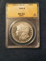 1890-P ANACS MINT STATE 62 DMPL - GREAT LOOKING CAMEO ON BOTH SIDES