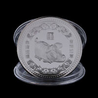 SILVER PLATED PIG COMMEMORATIVE COIN CHINESE ZODIAC SOUVENIR NEW YEAR GIFT_U
