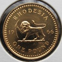 1966 RHODESIA POUND GOLD GEM PROOF    WORLD SOVEREIGN   UNCIRCULATED
