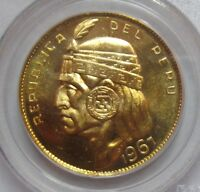 PERU 1967 50 SOLES GOLD   PCGS MS 65 GEM BRILLIANT UNCIRCULATED   GORGEOUS COIN