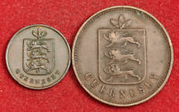 1830 GUERNSEY.COPPER 1 DOUBLE   4 DOUBLES COINS. 1ST YEAR OF COINAGE  2PCS