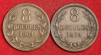 1864/1874 GUERNSEY  BRITISH DEPENDENCY . COPPER 8 DOUBLES COINS.  VF AXF  2PCS