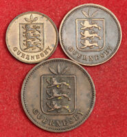 1889 GUERNSEY  BRITISH DEPENDENCY . COPPER 1 2 & 4 DOUBLES COINS. VF XF  3PCS