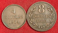 1914/1910 GUERNSEY  BRITISH DEPENDENCY . CU 4 & 8 DOUBLES COINS.  VF XF   2PCS