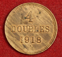 1918 GUERNSEY  BRITISH DEPENDENCY . NICE COPPER 4 DOUBLES COIN. AU UNC