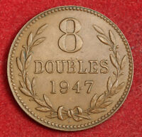 1947 GUERNSEY  BRITISH DEPENDENCY . LARGE COPPER 8 DOUBLES COIN. XF
