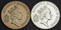 1986 GUERNSEY BRITISH DEPENDENCY . COPPER NICKEL & SILVER 2 POUNDS COINS. 2PCS