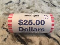 TYLER  PRESIDENTIAL DOLLAR ROLL, 1 $25 ROLL, UNCIRCULATED, NEVER OPENED