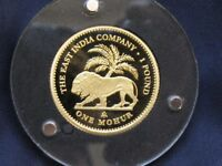 2014 ST. HELENA ONE MOHUR PROOF GOLD COIN   EAST INDIA COMPANY   LION