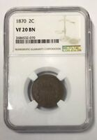 1870 TWO CENT  NGC VF20 BN