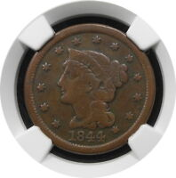 1844 INV 184 BRAIDED HAIR LARGE CENT 1C N13 KEY DATE BETTER GRADE F $ NGC R2