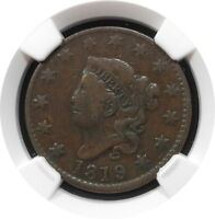 1819/8 CORONET HEAD LARGE CENT 1C N2 KEY DATE BETTER GRADE F 12 BN $ NGC LG DATE