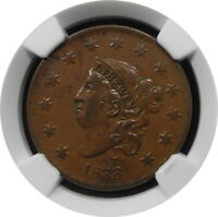 1833 CORONET HEAD LARGE CENT 1C N2 KEY DATE AU 50 BN $ NGC R2