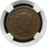 1848 BRAIDED HAIR LARGE CENT 1C N36 KEY DATE BETTER GRADE F 12 BN $ NGC R5
