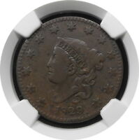 1829 CORONET HEAD LARGE CENT 1C N6 KEY DATE VG 10 BN $ NGC LARGE LETTERS