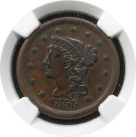 1855 BRAIDED HAIR LARGE CENT N8 1C KEY DATE HIGH GRADE AU $ NGC UPRIGHT 55