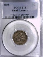 1858 FLYING EAGLE CENT PCGS F 15 SMALL LETTERS 24387775
