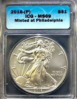 2016-P  SILVER AMERICAN EAGLE/ICG-MINT STATE 69/ MINTED AT PHILADELPHIA // 10327010