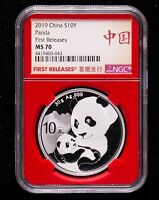 10 PCS OF NGC MS70 CHINA 2019 30G REGULAR SILVER PANDA COINS FIRST RELEASES