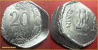20 PAISE ALUMINUM WITHDRAWN ISSUE ODD SHAPE CURVED OFF CENTER ERROR COIN