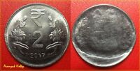 INDIA 2 RUPEES STEEL ISSUE  VARIETY ERROR COIN - MIS-ALIGNED DIE-UNIFACE