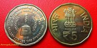 INDIA 2015 RUPEES 5 VALOUR & SACRIFICE 1ST ISSUE NICKEL BRASS UNC COIN