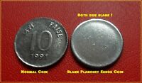 INDIA10 PAISE SMALL CUTE EX  BLANK PLANCHET ERROR COIN  BOTH SIDE BLANK