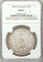 1889 PARAGUAY PESO SILVER NGC MS61 BU UNC UNCIRCULATED REALES REPUBLIC