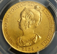 Click now to see the BUY IT NOW Price! 1834 PORTUGAL DONA MARIA II. BEAUTIFUL GOLD PECA  7500 REIS  COIN. PCGS MS 62