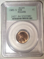 1909 S VDB   PCGS MS64 RB RED BROWN   OGH   LINCOLN WHEAT CE