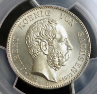1902 SAXONY ALBERT I. SILVER 2 MARK COIN. 1 YEAR MOURNING ISSUE  PCGS MS 66