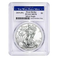 2019  W  1 OZ SILVER AMERICAN EAGLE $1 COIN PCGS MS 70 FIRST STRIKE  WEST POINT