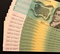 10 X CONSEC $2 NOTES 1985    PERFECT UNC   STRAIGHT FROM A F