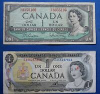 LOT OF 2 BANK OF CANADA $1 BANK NOTES YEAR 1954 & 1973