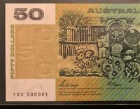 $50 NOTE    NUMBER ONE SERIAL    YXX 000001    1989 PHILLIPS