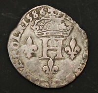 1586 ROYAL FRANCE HENRY III. SILVER DOUBLE SOL PARISIS COIN. NANTES MINT