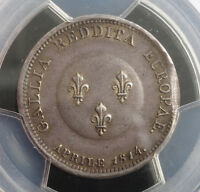 1814 FRANCE  PROVISIONAL GOVERNMENT .  MEDALLIC SILVER 2 FRANCS COIN. PCGS XF