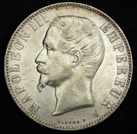 1855 FRANCE  2ND EMPIRE  NAPOLEON III. LARGE SILVER 5 FRANCS COIN. XF /AU
