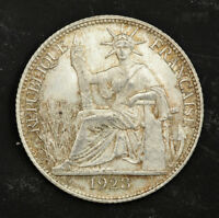 1930 FRENCH INDO CHINA. NICE SILVER 20 CENTS  1/5TH OF A PIASTRE  COIN. AU UNC