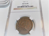 1847 BRAIDED HAIR LARGE CENT 1C NGC AU55 BROWN  US COIN.