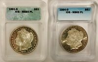 1881 S AND 1884 O MORGAN DOLLARS ICG MINT STATE 64 PL AND MINT STATE 63 PL