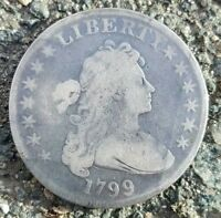1799 DRAPED BUST SILVER DOLLAR VF DETAILS  YOU GRADE NO RESE