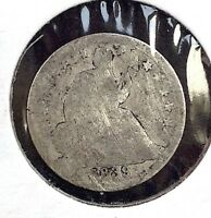 1839 H10C SEATED LIBERTY SILVER HALF DIME COIN VAR. 2