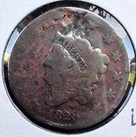 1828 1C MATRON HEAD LARGE CENT COPPER COIN LARGE TALL DATE