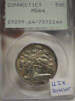 1935 CONNECTICUT COMMEMORATIVE HALF DOLLAR PCGS MINT STATE 64 OLD RATTLER HOLDER  2144