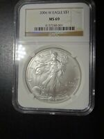 2006 W NGC MINT STATE 69 SILVER EAGLE BROWN LABEL