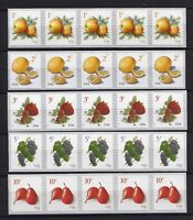 US POSTAGE   FRUIT COIL STRIPS OF 5   APPLE LEMON STRAWBERRY GRAPE AND PEAR