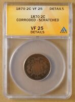 1870 TWO CENT PIECE ANACS VF 25 DETAILS