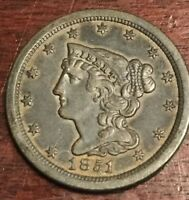1851 HALF CENT IN ALMOST UNCIRCULATED CONDITION L123